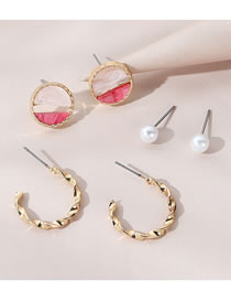 Fashion Gold Color Pearl Drop Oil Round Alloy Earring Set