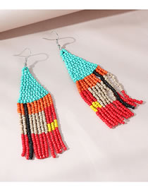 Fashion Color Mixing Rice Beads Beaded Contrast Alloy Earrings