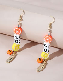 Fashion Color Mixing Alphabet Leaf Acrylic Feather Earrings