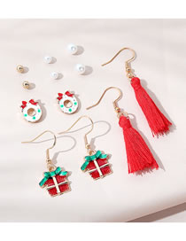 Fashion Color Mixing Christmas Gift Dripping Tassel Pearl Earrings Set
