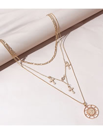 Fashion Gold Color Cross Round Alloy Hollow Multilayer Necklace