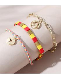 Fashion Color Mixing Map Round Beaded Alloy Bracelet Set