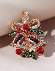 Fashion Double Bell Christmas Series Christmas Double Bells Diamond Alloy Brooch
