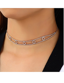 Fashion Gold Color Diamond Round Alloy Hollow Necklace