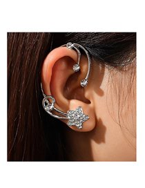 Fashion Silver Color Diamond-studded Five-pointed Star Alloy Unilateral Earrings