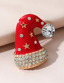 Fashion Christmas Hat Christmas Hat Diamond Drop Oil Alloy Brooch