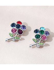 Fashion Color Mixing Alloy Earrings With Small Flowers And Diamonds