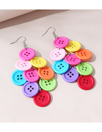 Fashion Buttons Button Contrast Color Tassel Round Earrings