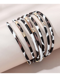 Fashion White Pu Leather Leopard Print Multilayer Bangle