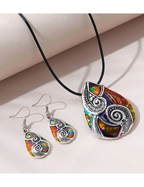 Fashion Color Mixing Contrast Drop-shaped Necklace And Earrings Set
