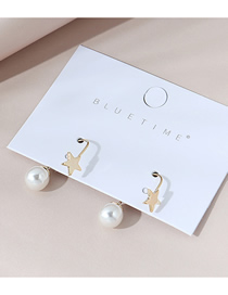 Fashion Golden Real Gold Plated Pearl Five-pointed Star Earrings