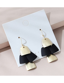 Fashion Golden Real Gold Plated Frosted Geometric Earrings