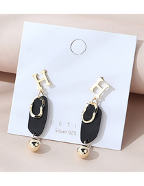 Fashion Black Real Gold Plated Frosted Letter Geometric Earrings