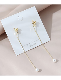 Fashion Golden Real Gold-plated Long Geometric Pearl Earrings