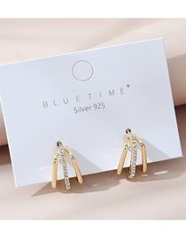 Fashion Golden Real Gold Plated Geometric Earrings With Diamonds