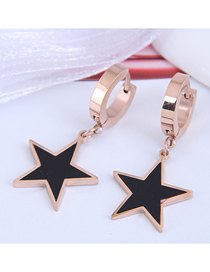 Fashion Rose Gold Titanium Steel Five-pointed Star Oil Drop Earrings