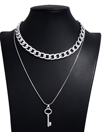 Fashion Silver Color Key Alloy Double Chain Necklace