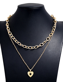 Fashion Gold Color Love Heart Hollow Alloy Double Chain Necklace