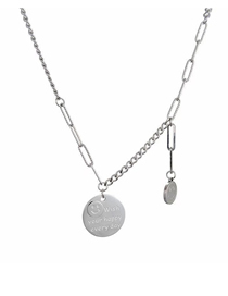 Fashion Round Card Long Round Necklace With Smiley Face Pendant
