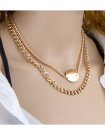 Fashion Golden Chain Round Thick Chain Double Necklace