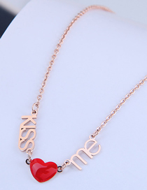 Fashion Red Love Letter Resin Alloy Titanium Steel Necklace