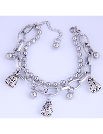Fashion Silver Stainless Steel Bead Wallet Double-layer Bracelet