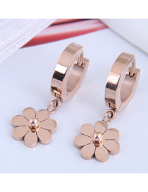 Fashion Rose Gold Daisy Pendant Titanium Steel Stud Earrings