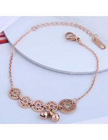 Fashion Rose Gold Coin Bell Hollowed Titanium Steel Bracelet