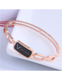 Fashion Rose Gold Titanium Steel Letter Geometric Hollow Bracelet