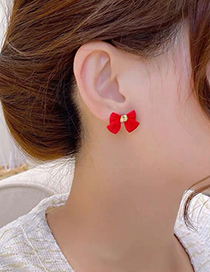 Fashion Red Bowknot Resin Alloy Earrings