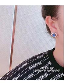 Fashion Color Mixing Diamond Eye Alloy Hollow Stud Earrings