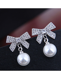 Fashion Silver Color Pearl Alloy Stud Earrings With Diamond Bow
