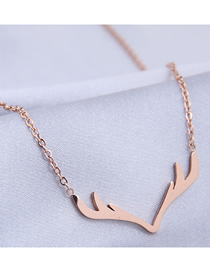 Fashion Rose Gold Antler Pendant Titanium Steel Necklace