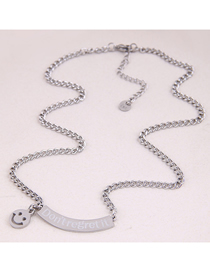 Fashion Silver Stainless Steel Letter Smiley Face Pendant Necklace