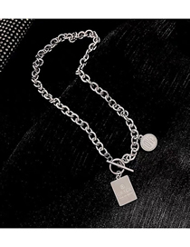 Fashion Silver Stainless Steel Metal Chain Shield Pendant Necklace