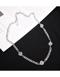 Fashion Silver Stainless Steel Smiley Metal Chain Necklace