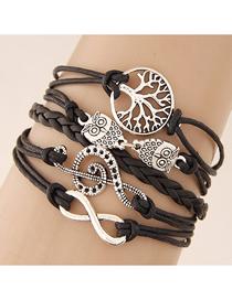 Fashion Black Big Tree Owl Tone Accord With Gold Handmade Multi-layer Woven Bracelet