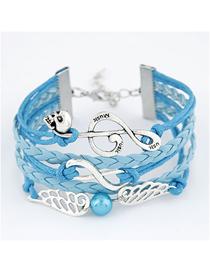 Fashion Blue Musical Note Wings Skull Alloy Handmade Multi-layer Braided Bracelet