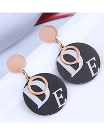 Fashion Gold Color Titanium Steel Round Letter Earrings