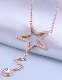 Fashion Gold Color Meteor Titanium Steel Pentagram Necklace