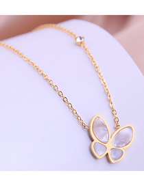 Fashion Gold Color Shell Butterfly Titanium Steel Necklace