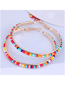 Fashion Color Metal Rice Beads Round Earrings
