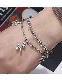 Fashion Silver Color Stainless Steel Horse Multi-layer Bracelet