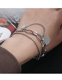 Fashion Silver Color Stainless Steel Coin Double Bracelet
