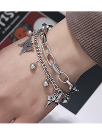 Fashion Silver Color Stainless Steel Butterfly Double Bracelet