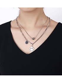 Fashion Silver Color Stainless Steel Smiley Double Chain Necklace