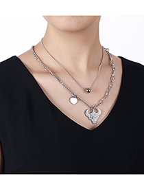 Fashion Silver Color Stainless Steel Auspicious Bull Double Chain Necklace