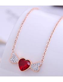 Fashion Rose Gold Shining Angel Wings Titanium Steel Necklace