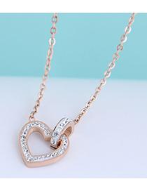 Fashion White Diamond Titanium Steel Love Heart Flashing Diamond Necklace