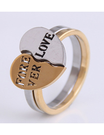 Fashion Gold Color Stainless Steel Love Heart Combination Letter Ring